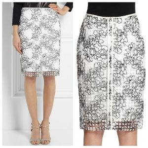Reed Krakoff White Floral Embroidery Pencil Skirt